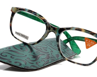 Venus, (Premium) Reading Glasses, High End Readers +1.25..+4 Magnifying glasses, Rectangular. Optical Frame (Tortoise Green) NY Fifth Avenue