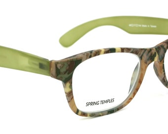 The Forester, (Premium) Reading Glasses, High End Reader +1.25 to +3 Magnifying Wayfarer Style (Green Camouflage) Frame. NY Fifth Avenue