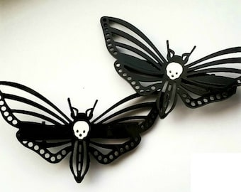 Gothic hair clips, death moth clips, gothic jewellery, pagan hair clips, hawk moth, acrylic, gothic gift, gothic sale, gothic valentine