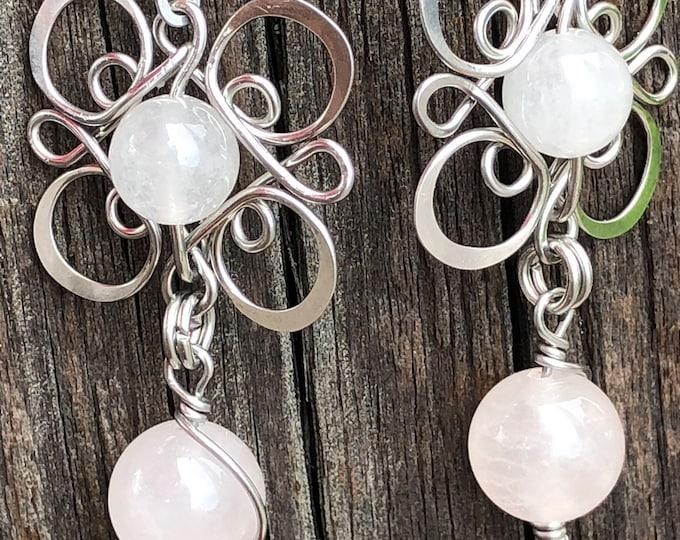Unique, handmade, rose quartz earrings