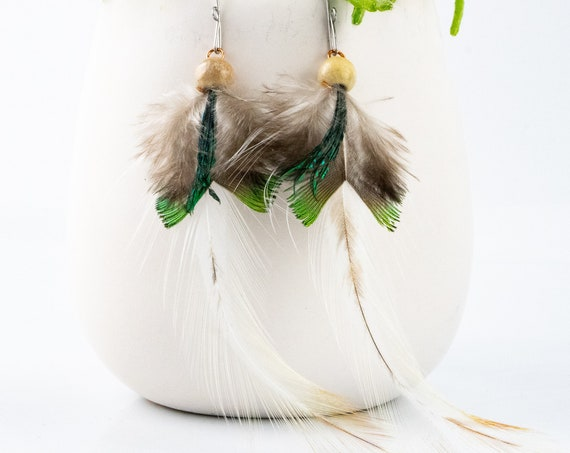 Unique Handmade Feather Earrings, Friend Gift, Unique Feather, Boho Feather Earrings, Wedding Earrings, Natural Feathers,  Rooster Feathers