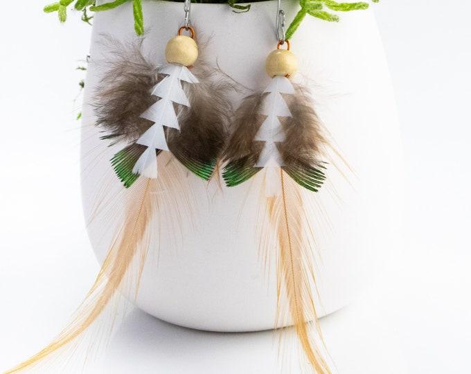 Feather Earrings, Boho Earrings, Dangle Earrings, Gift For Her. Handmade Earrings, Dangle Earrings