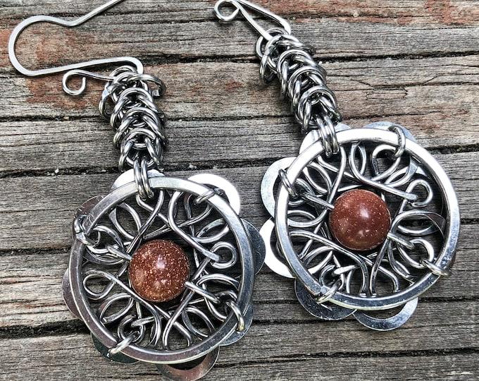 Handmade // Gold Stone // Earrings // Dangle Earrings // Gemstone Earrings // Flower Earrings // Stainless steel Earrings // Unique Earrings
