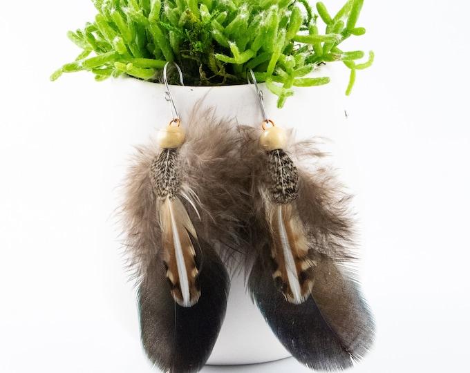 Handmade Feather Earrings, American Bittern Feathers, Wild Turkey Feathers, Red Tailed Hawk Feathers, Boho Jewelry. Unique Earrings.