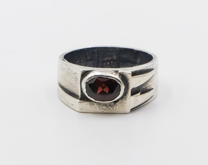Handmade Sterling Silver Garnet Ring
