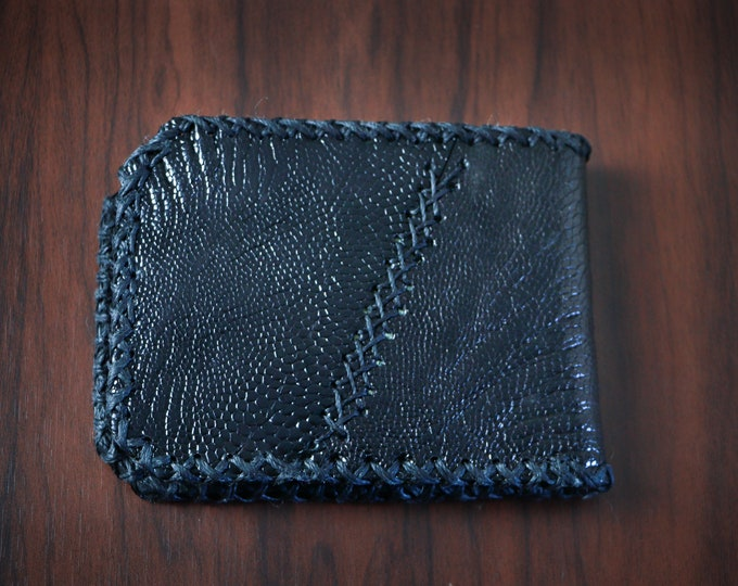 Leather Wallet. // Ethically Sourced - Ostrich Leather // Handmade Wallet // Unique Bi-fold Wallet // Multiple Compartments