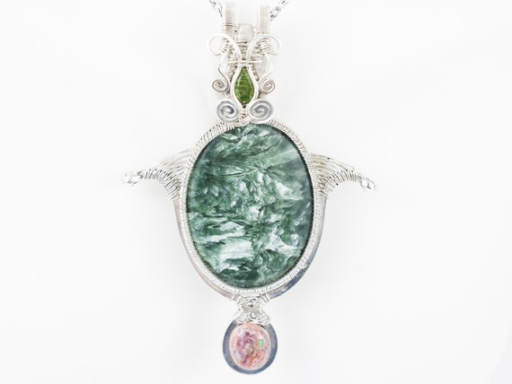 Seraphinite, Fire Opal, Green Tourmaline, Handmade Pendant, Wire Wrapped Unique Silver Pendant, Gemstone Silver Necklace,Silver Gift For Her
