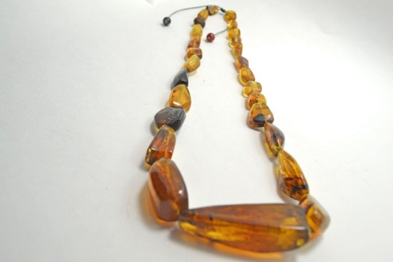 Mexican Amber Handmade Carved Necklace, Long Amber boho Necklace, Statement Necklace, Amber Bead Jewelry,