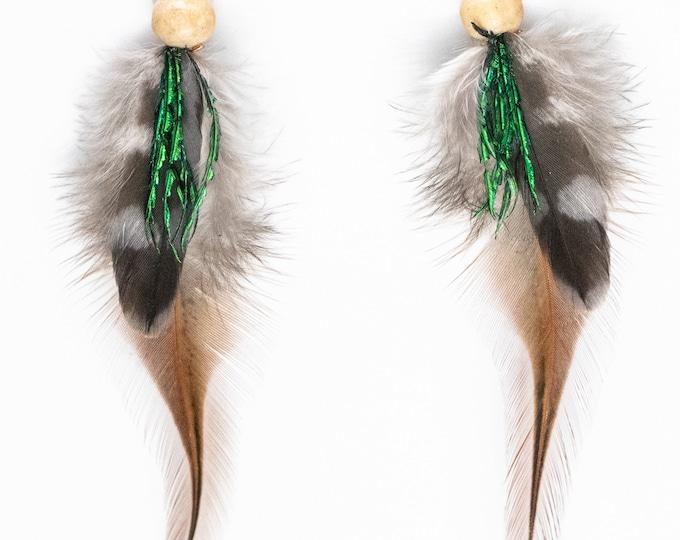 Feather Earrings, Handmade Earrings, Bohemian Earrings, Dangle Earrings,