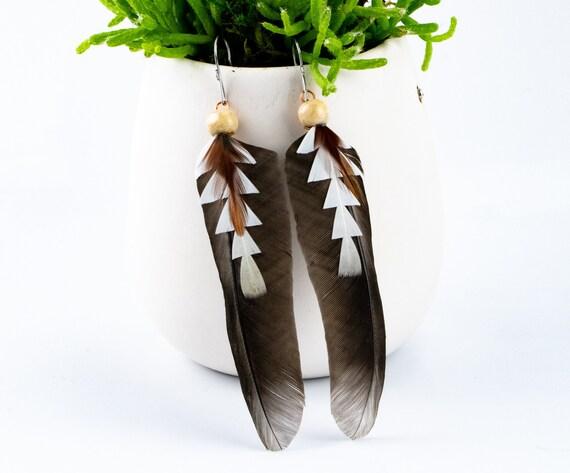Boho Handmade Feathers Earrings, Pied Billed Grebe Feathers, Rooster Feathers, Pigeon Feathers, Unique Feathers Dangle Earrings, Friend Gift