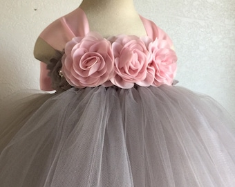 f0b8a36c4ca47 Beautiful flower girl tutu dress,birthday tutu dress in light pink and grey  with matching headband for babies 12-18 months
