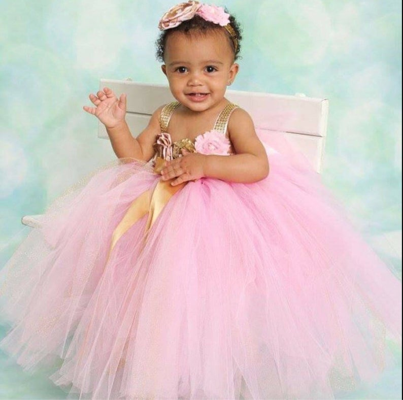047c92a4b Beautiful baby girl first birthday tutu dress in pink and gold