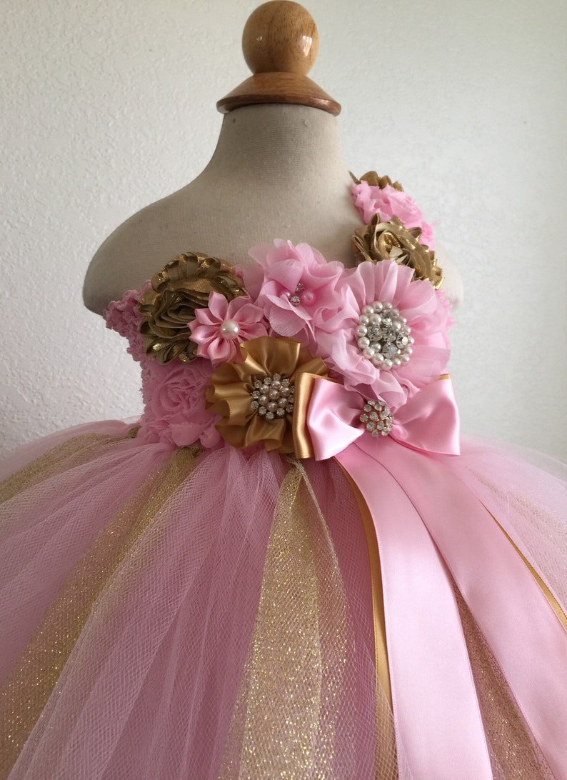 2c8f3b41e Beautiful baby girl first birthday tutu dress in pink and rose gold for  baby girls 12-18 months with matching headband