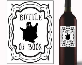 Bottle of Boos - Halloween Wine Label