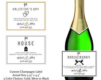 Custom Marriage Milestone Champagne Labels