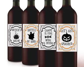 Set of 4 Halloween Wine Labels