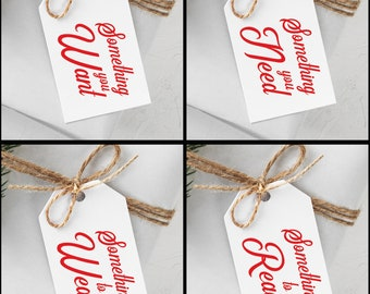 Christmas Rhymes Gift Tags, Something You Want, Something You Need, Something to Wear, Something to Read
