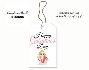 Printable Galentine's Day Gift Tag -  - Digital PDF - Galentine's Day Party - Valentine Gift Tag