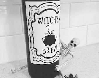 Witch's Brew - Halloween Wine Label