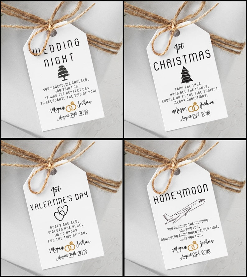 Custom Marriage Milestone Gift Tags  Couples Shower Gift  image 0