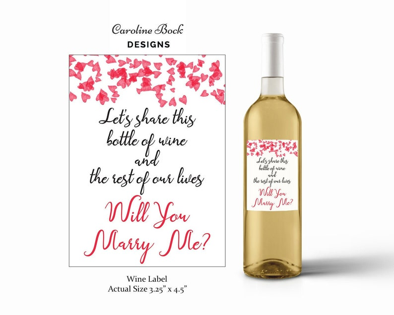 Proposal Wine Label  Will You Marry Me  Wine Bottle Label  image 0