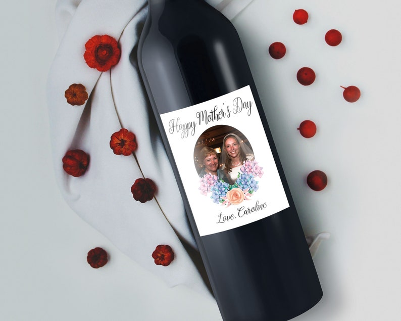 Custom Mother's Day Wine Label with Photo image 0