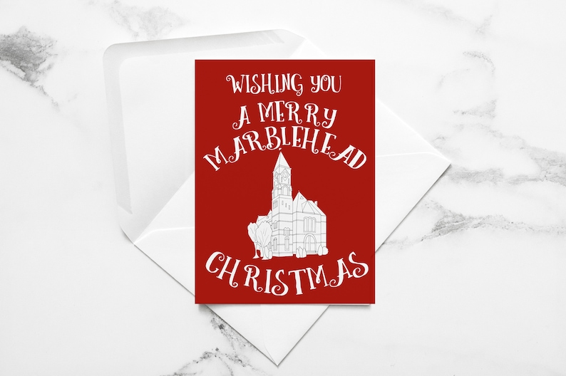 Marblehead Christmas Card  Wishing You a Very Merry image 0