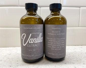 Custom Gray Vanilla Extract Labels