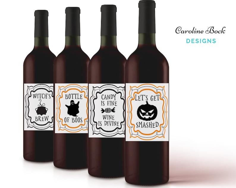 Halloween Wine Labels  Ghost Wine  Let's Get Smashed  image 0