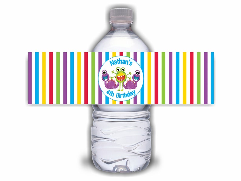 Custom Monster Birthday Party Water Bottle Labels  Set of 6 image 0