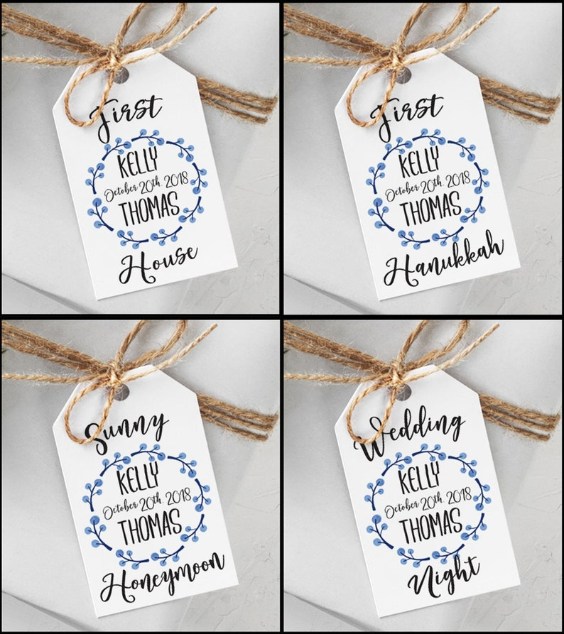 Custom Couples Shower Gift Tags  Engagement Gift Idea  image 0