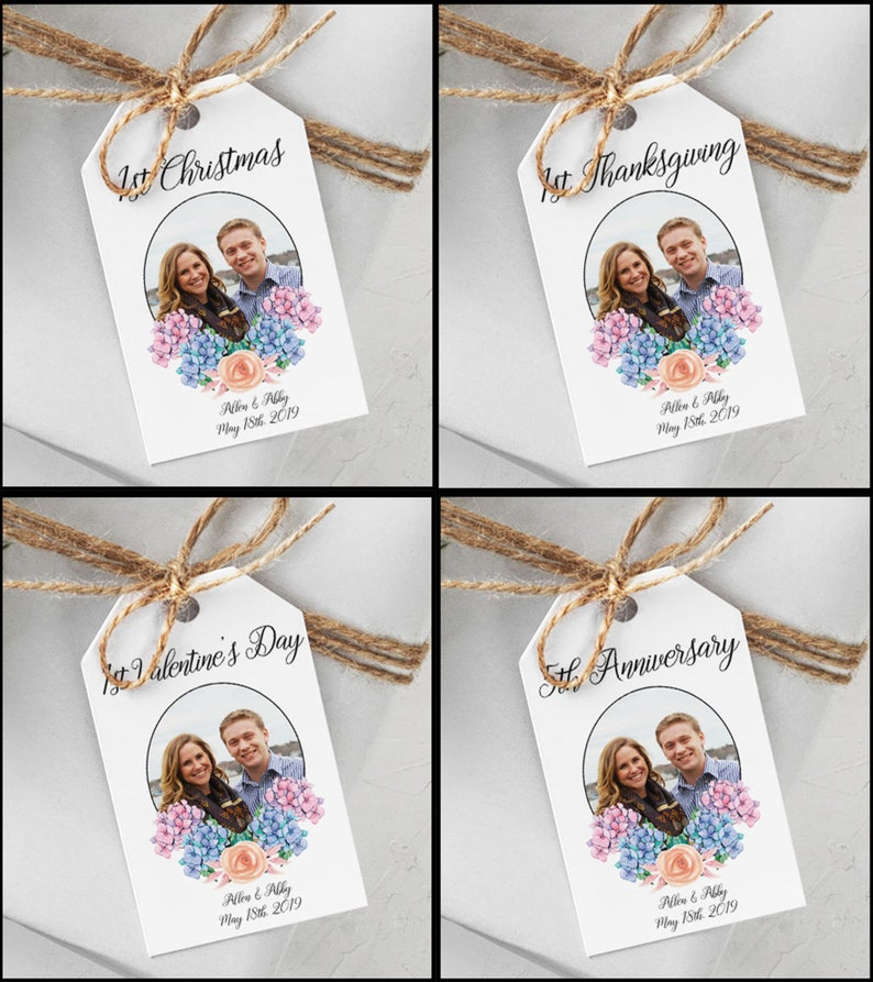 Custom Marriage Milestone Gift Tags with Photo image 0