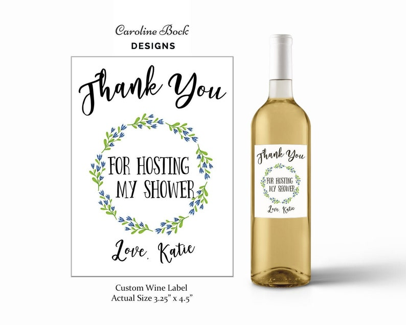 Bridal Shower Gift Baby Shower Hostess Gift Baby Shower Gift Baby Shower Wine Label Custom Wine Label Thank You Wine Label