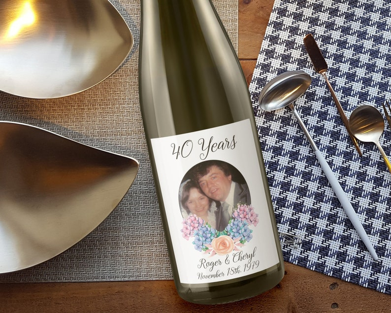 Custom Wedding Anniversary Wine Label with Photo image 0