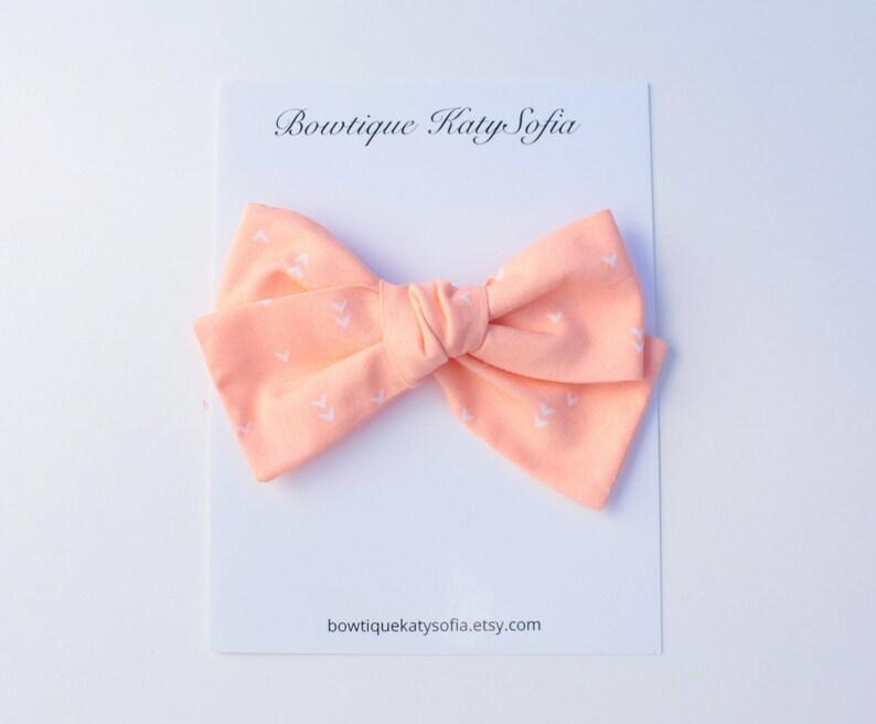 Pinwheel bow toddler clip Valentines day hair bow Peach hair clip Heart hair bow Baby headband hand tied hair bow baby bows
