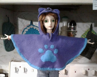 BJD Cat themed hooded poncho ~ Made to order