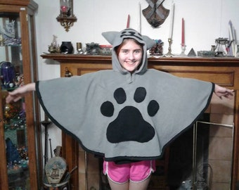 Cat themed hooded poncho ~ Made to order
