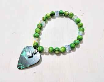 Green stone and glass handmade guitar pick stretch bracelet