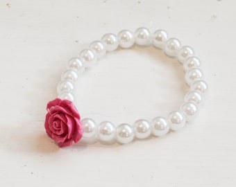 Pink Flower and Plastic Pearl Stretchy Bracelet