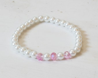 Custom Pearl and Crystal Stretchy Bracelet