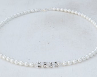 Small White Pearl Necklace with Clear Glass Crystal and Swarovski Crystal