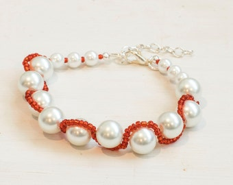 Woven Pearl Bracelet - White Pearls and Colored Seed Beads