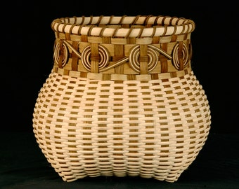 Ready to ship =  Hand Woven Basket In Natural Colors, with flat-oval and round reed, Cherokee wheels