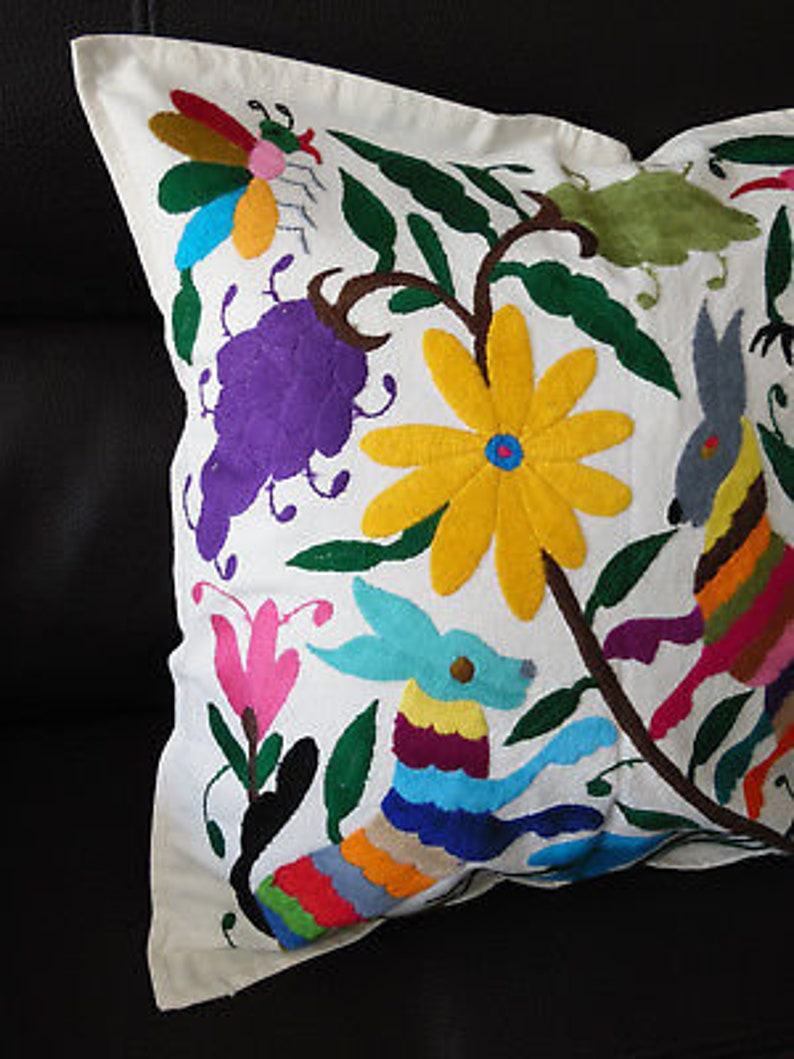HAND EMBROIDERED OTOMI  Pillow Cover  Mexico  Set of 2