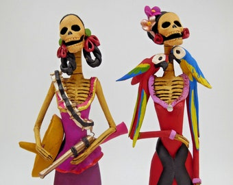 CATRINA SET Cowboy & Frida handmade mexican clay figurines day of the dead 10""