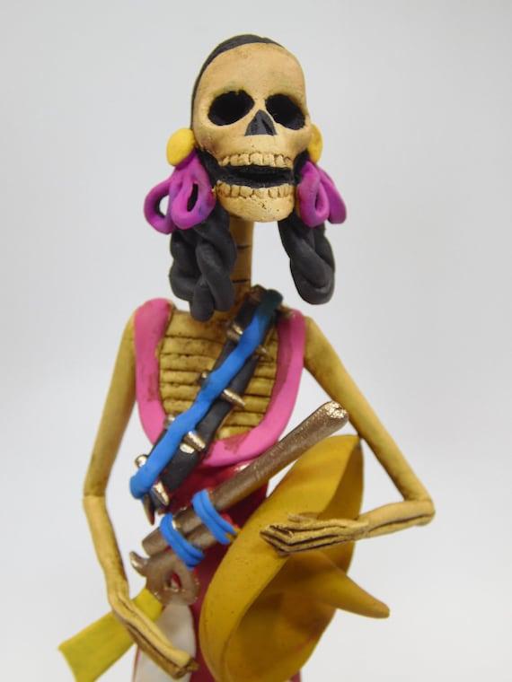 Cowboy Catrina Charra Handmade Clay Sculpture Mexican Day Of Etsy