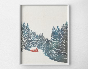 winter print winter decor cabin decor cabin art cabin christmas christmas decor forest print holiday print snow print 0483