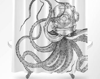 Octopus Shower Curtain Nautical Bathroom Decor Scuba