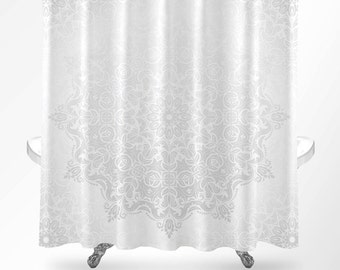Mandala Shower Curtain Boho White Modern Grey Bathroom Decor