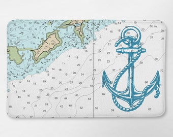 Nautical Map Bath Rug, Nautical Bathroom, Anchor Bath Mat, Bath Rug,  Nautical Bath Decor, Nautical Bath Mat, Anchor Bathroom Decor